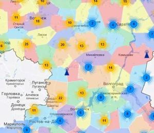 Зона покрытия второго мультиплекса Волгоградской области