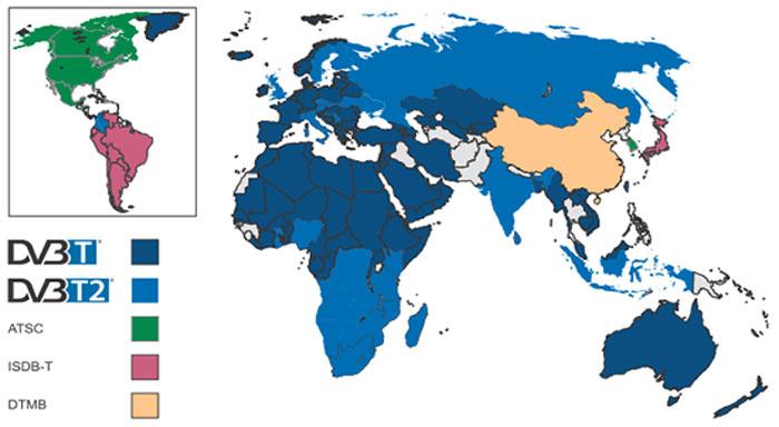 dvb t и dvb t2 распространение в мире
